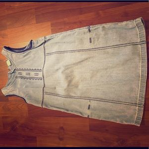 Girls denim dress with blue and white embroidery